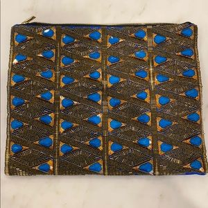 NWT BCBG Blue Stone and Satin Clutch